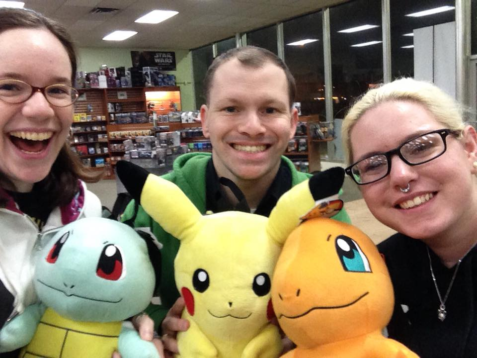 Megan with Squirtle, Bearz with Pikachu, and Abby with Charmander!