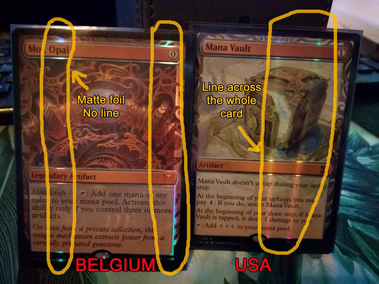 Two kaladesh masterpiece cards with foiling differences highlighted