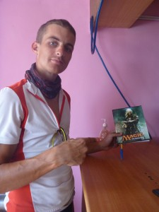 At the Kalmyk steppes, in the only village at 80km around, holding a Magic notebook