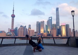 Sashi does his signature handstand in Shanghai.