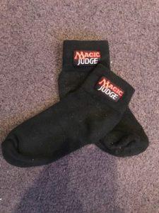 Magic Judge branded socks.