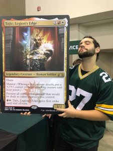 Dalton with a giant card