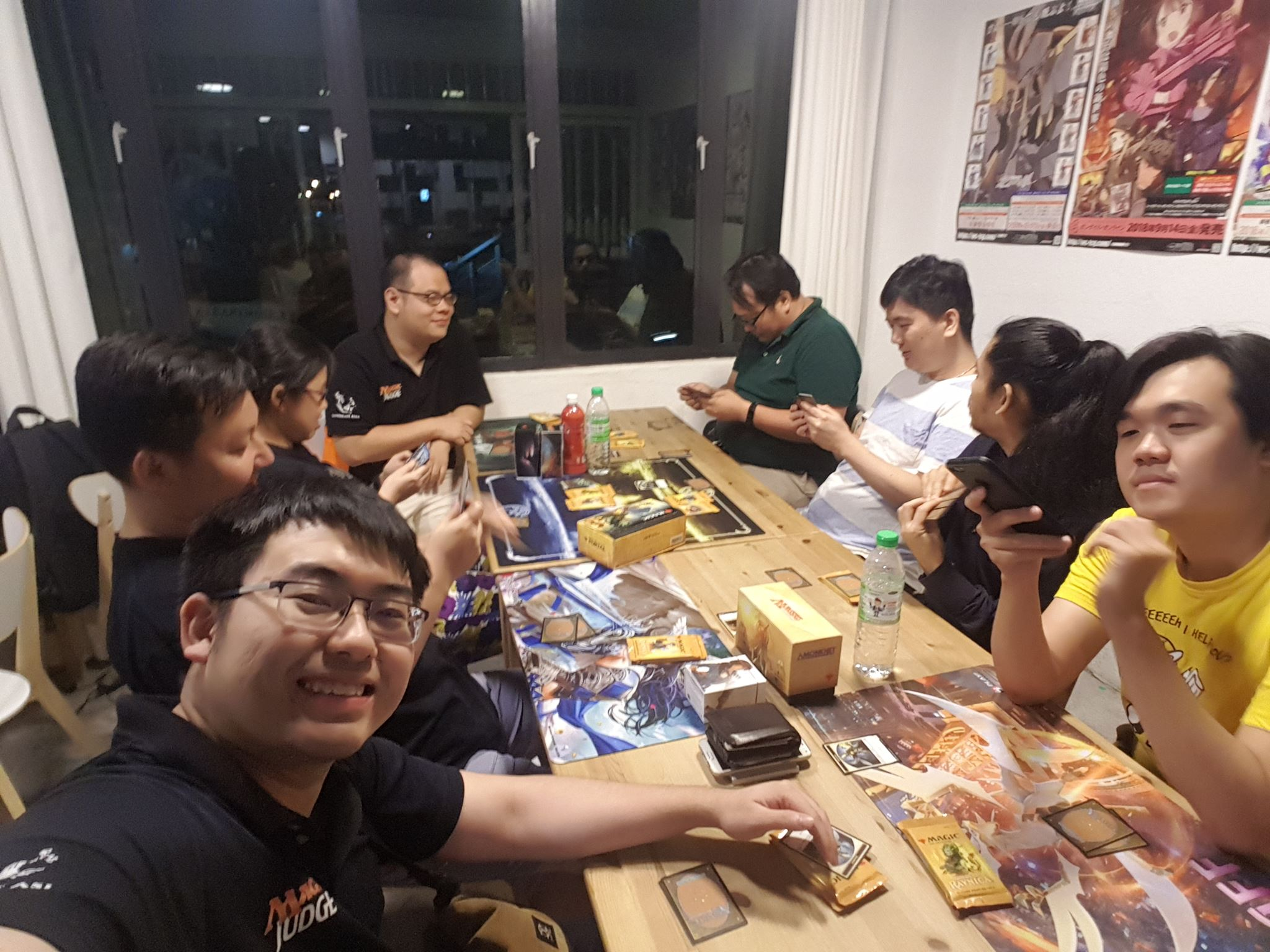 Singaporean Judges and Zie Aun Tan at their LGS drafting around 2am - plus stand-in scorekeeper